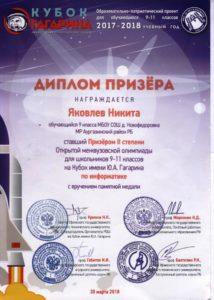 диплом призёра второй степени по информатике