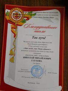 Благодарственное письмо наставнику - Глухову Н.М.