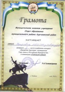 """грамота по итогам участия в """"Звёздочки Аургазов"""""""