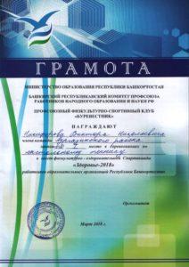 1-е место в настольном теннисе учителя Никифорова В.Н.